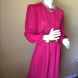 Vintage Dawn Joy cranberry striped dress